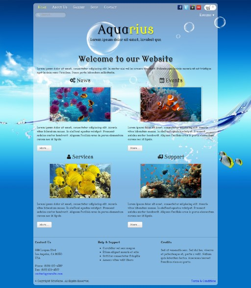 aquarius - responsive website template built with TOWeb, the responsive website creation software