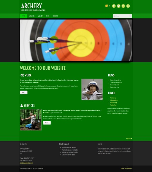 archery - responsive website template built with TOWeb, the responsive website creation software