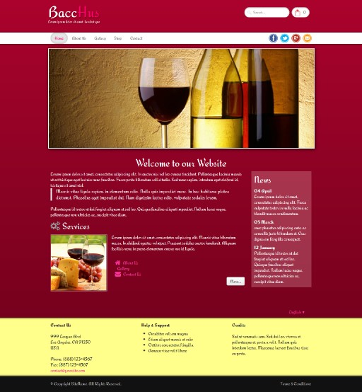 bacchus - responsive website template built with TOWeb, the responsive website creation software