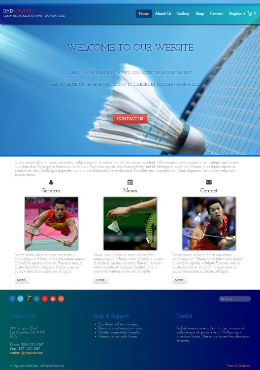 badminton - responsive website template built with TOWeb, the responsive website creation software