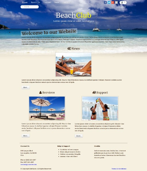 beachclub - responsive website template built with TOWeb, the responsive website creation software