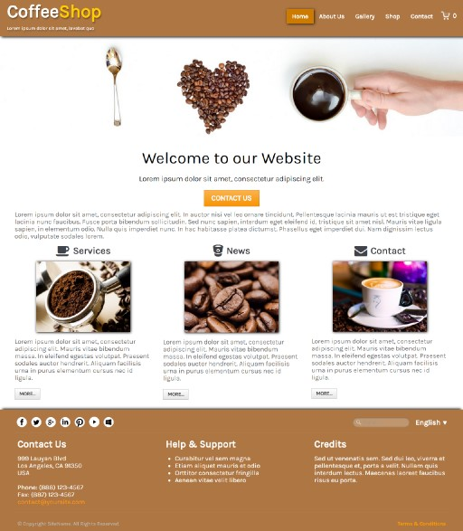 coffeeshop - responsive website template built with TOWeb, the responsive website creation software