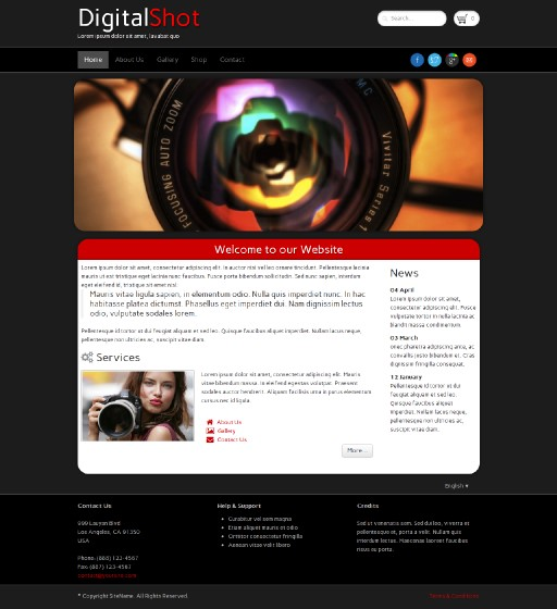 digitalshot - responsive website template built with TOWeb, the responsive website creation software
