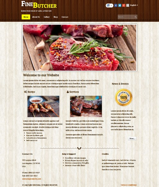 finebutcher - responsive website template built with TOWeb, the responsive website creation software