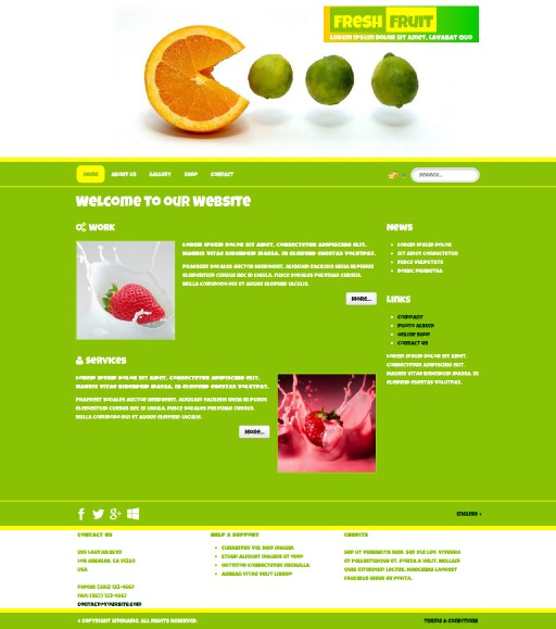 freshfruit - responsive website template built with TOWeb, the responsive website creation software