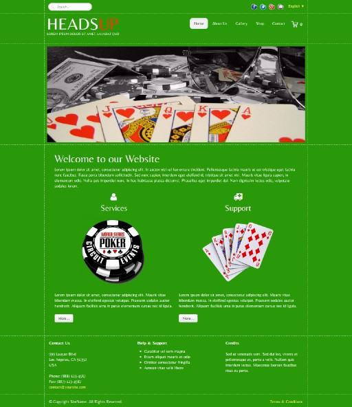 headsup - responsive website template built with TOWeb, the responsive website creation software