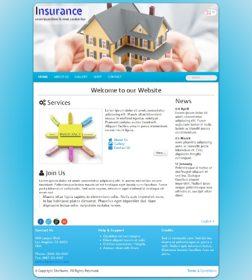 insurance - responsive website template built with TOWeb, the responsive website creation software