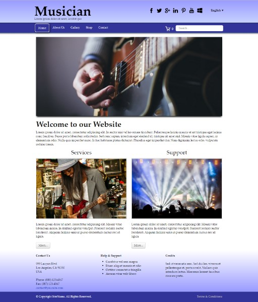 musician - responsive website template built with TOWeb, the responsive website creation software