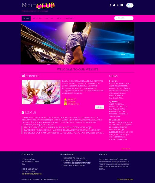 nightclub - responsive website template built with TOWeb, the responsive website creation software