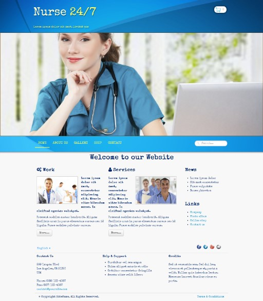 nurse247 - responsive website template built with TOWeb, the responsive website creation software