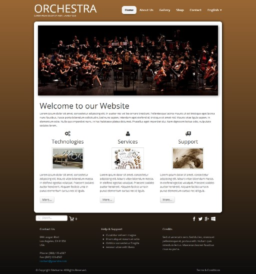 orchestra - responsive website template built with TOWeb, the responsive website creation software