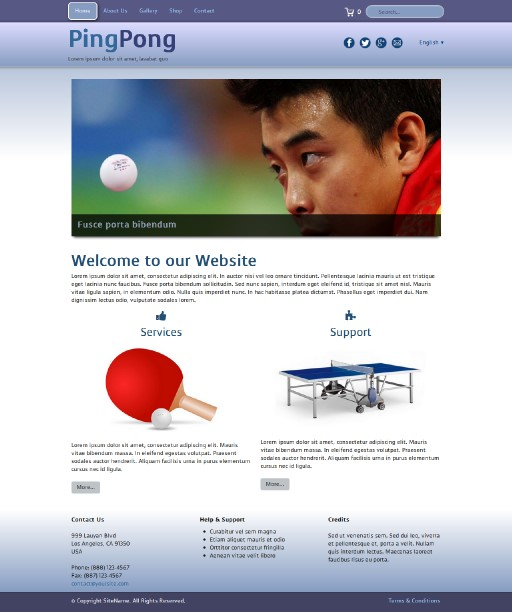 pingpong - responsive website template built with TOWeb, the responsive website creation software