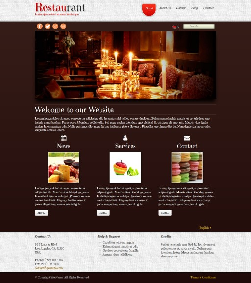 restaurant - responsive website template built with TOWeb, the responsive website creation software