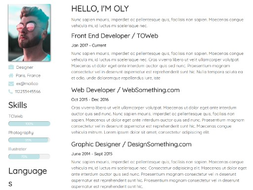 resume - responsive website template built with TOWeb, the responsive website creation software