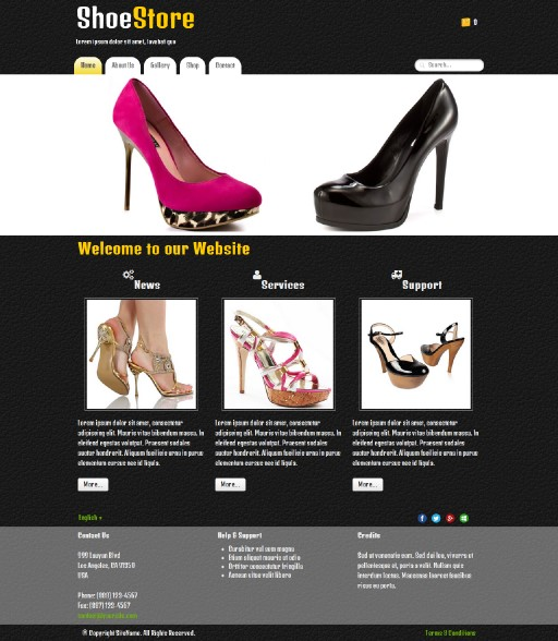 shoestore - responsive website template built with TOWeb, the responsive website creation software