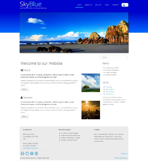 skyblue - responsive website template built with TOWeb, the responsive website creation software