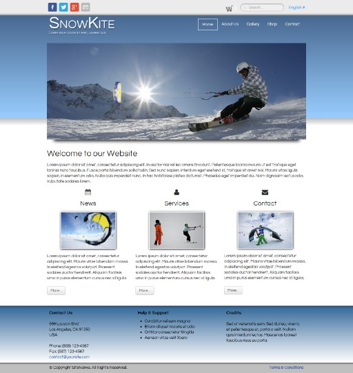 snowkite - responsive website template built with TOWeb, the responsive website creation software