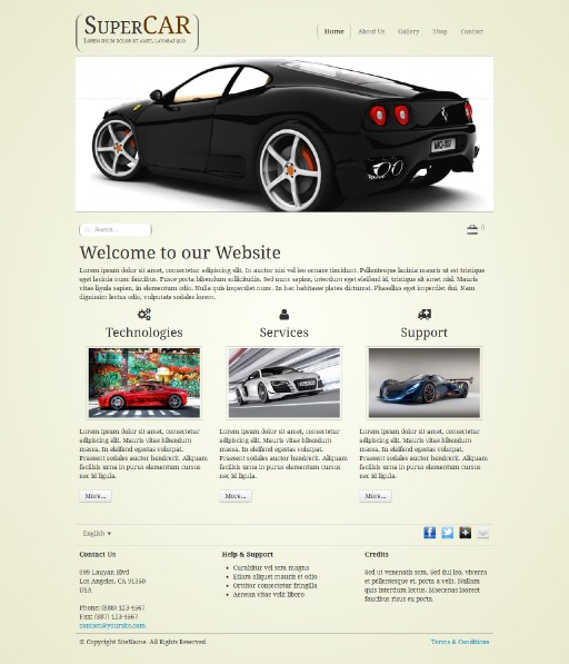 supercar - responsive website template built with TOWeb, the responsive website creation software