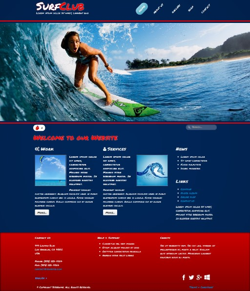 surfclub - responsive website template built with TOWeb, the responsive website creation software