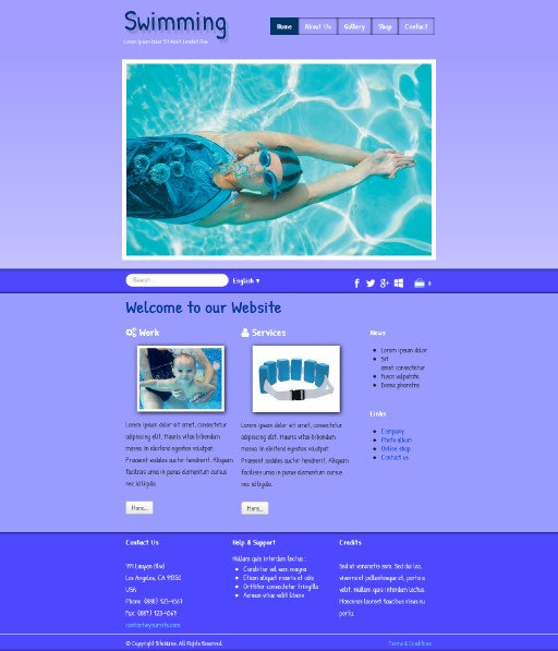 swimming - responsive website template built with TOWeb, the responsive website creation software