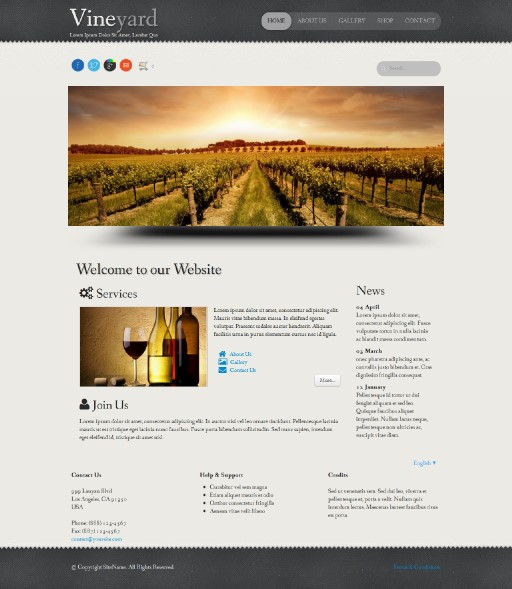 vineyard - responsive website template built with TOWeb, the responsive website creation software