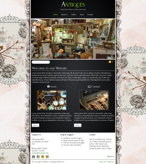 antiques - responsive website template built with TOWeb, the responsive website creation software