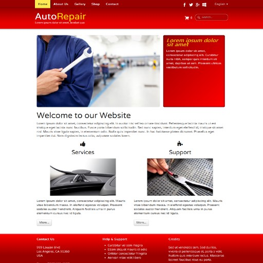 autorepair - responsive website template built with TOWeb, the responsive website creation software