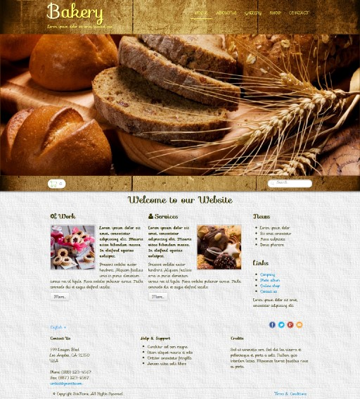 bakery - responsive website template built with TOWeb, the responsive website creation software