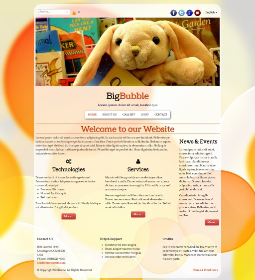 bigbubble - responsive website template built with TOWeb, the responsive website creation software