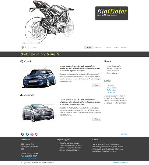 bigmotor - responsive website template built with TOWeb, the responsive website creation software