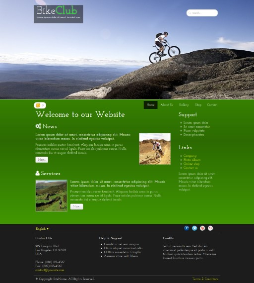 bikeclub - responsive website template built with TOWeb, the responsive website creation software
