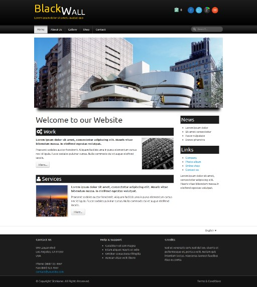 blackwall - responsive website template built with TOWeb, the responsive website creation software