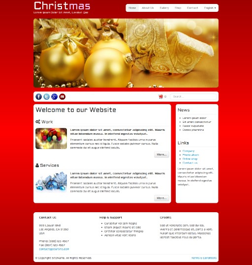 christmas - responsive website template built with TOWeb, the responsive website creation software
