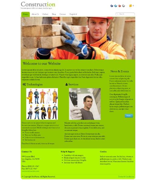 construction - responsive website template built with TOWeb, the responsive website creation software