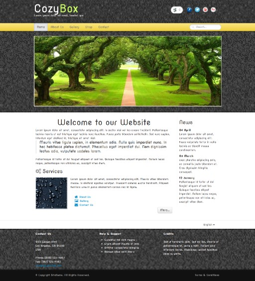 cozybox - responsive website template built with TOWeb, the responsive website creation software
