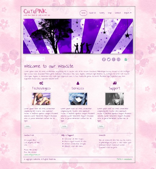 cutepink - responsive website template built with TOWeb, the responsive website creation software