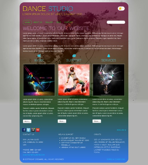 dancestudio - responsive website template built with TOWeb, the responsive website creation software