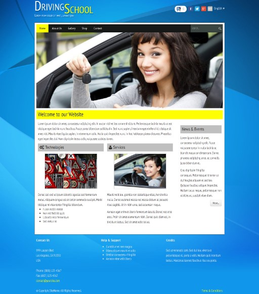 drivingschool - responsive website template built with TOWeb, the responsive website creation software
