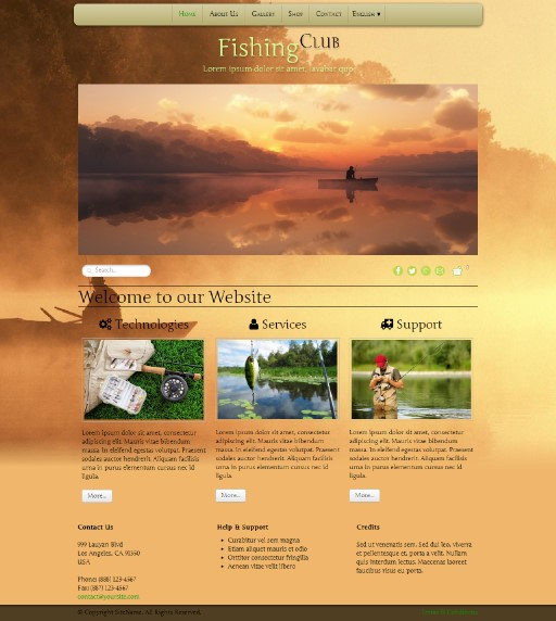fishingclub - responsive website template built with TOWeb, the responsive website creation software
