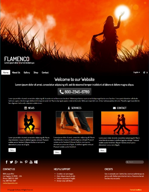flamenco - responsive website template built with TOWeb, the responsive website creation software