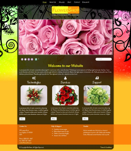 flowershop - responsive website template built with TOWeb, the responsive website creation software