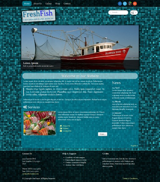 freshfish - responsive website template built with TOWeb, the responsive website creation software