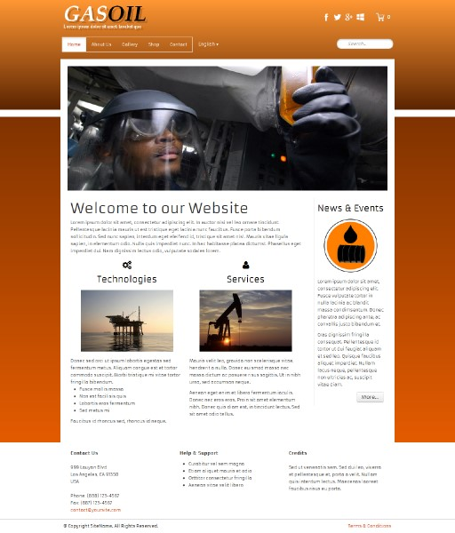 gasoil - responsive website template built with TOWeb, the responsive website creation software