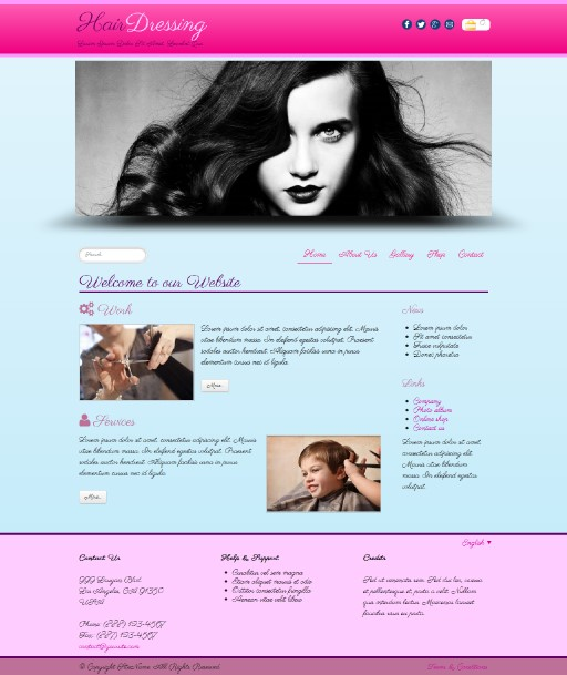 hairdressing - responsive website template built with TOWeb, the responsive website creation software