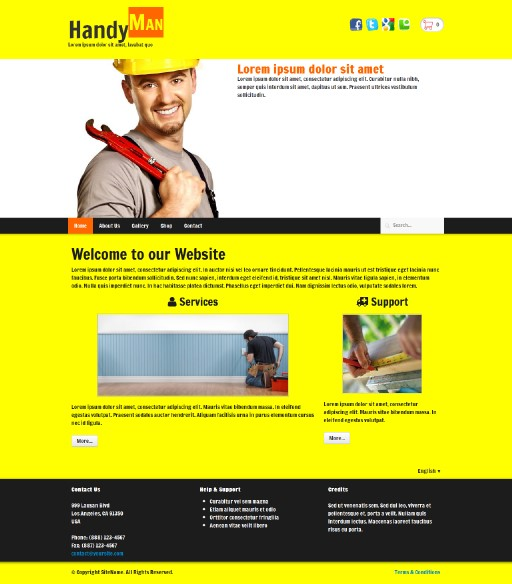 handyman - responsive website template built with TOWeb, the responsive website creation software