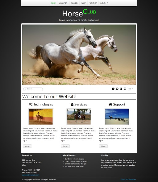 horseclub - responsive website template built with TOWeb, the responsive website creation software
