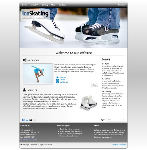 iceskating - responsive website template built with TOWeb, the responsive website creation software