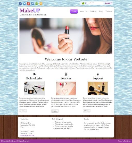makeup - responsive website template built with TOWeb, the responsive website creation software