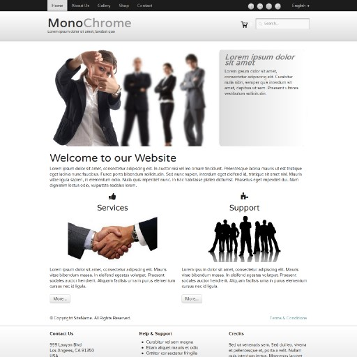 monochrome - responsive website template built with TOWeb, the responsive website creation software