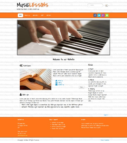 musiclessons - responsive website template built with TOWeb, the responsive website creation software
